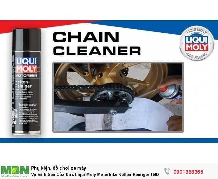 Ngoài ra, Chai vệ sinh sên Liqui Moly Motorbike Chain-Cleaner mang đặc tính hiệu quả mạnh mẽ khi bôi trơn sên ngay và tạo độ bám dính tốt nhất cho xích sên xe máy của bạn, bảo vệ sên trần cho xe mô tô, giúp sên vận hành trơn tru và chống kêu ồn khi chạy.