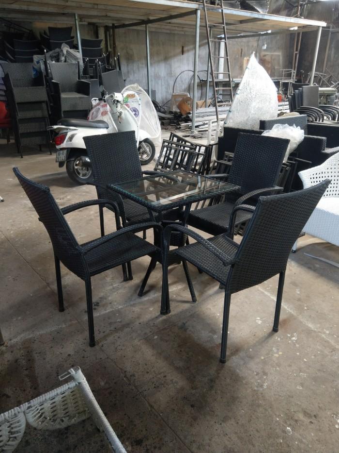 Bàn ghế cafe nhựa giả mây giá rẻ HTT6660
