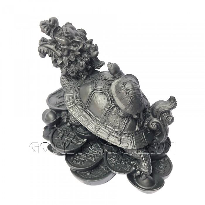 Tượng Đá Long Quy Phong Thủy - Màu Đen  + Kích thước: Dài 12cm x Rộng 8cm x Cao 10cm . Giá 195.000₫24