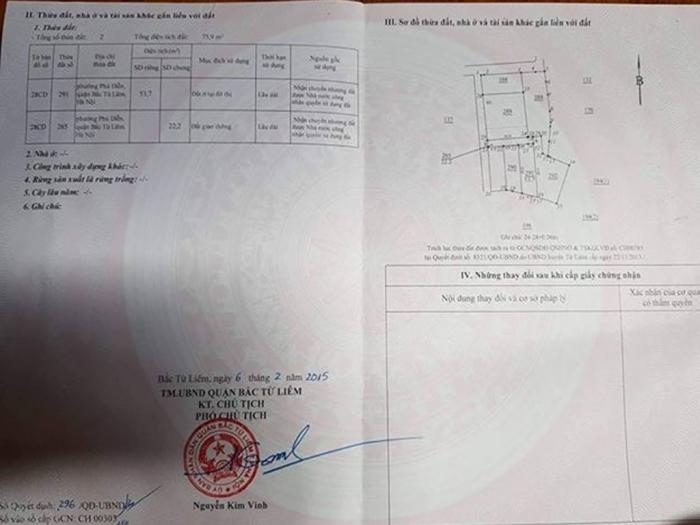 Bán đất ngõ 094 đường Hoàng Công Chất, phường Phú Diễn, Bắc Từ Liêm