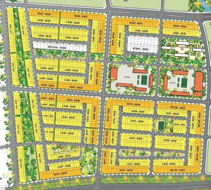 Lô góc Shophouse 9x20m,đường 21m,đối diện trường học,thanh toán 20%,T&T Long Hậu 2.