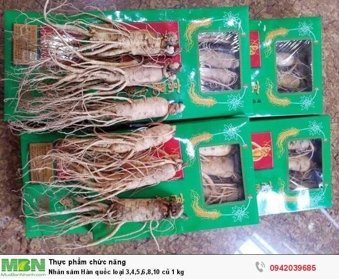 Nhân sâm Hàn quốc loại 3,4,5,6,8,10 củ 1 kg2