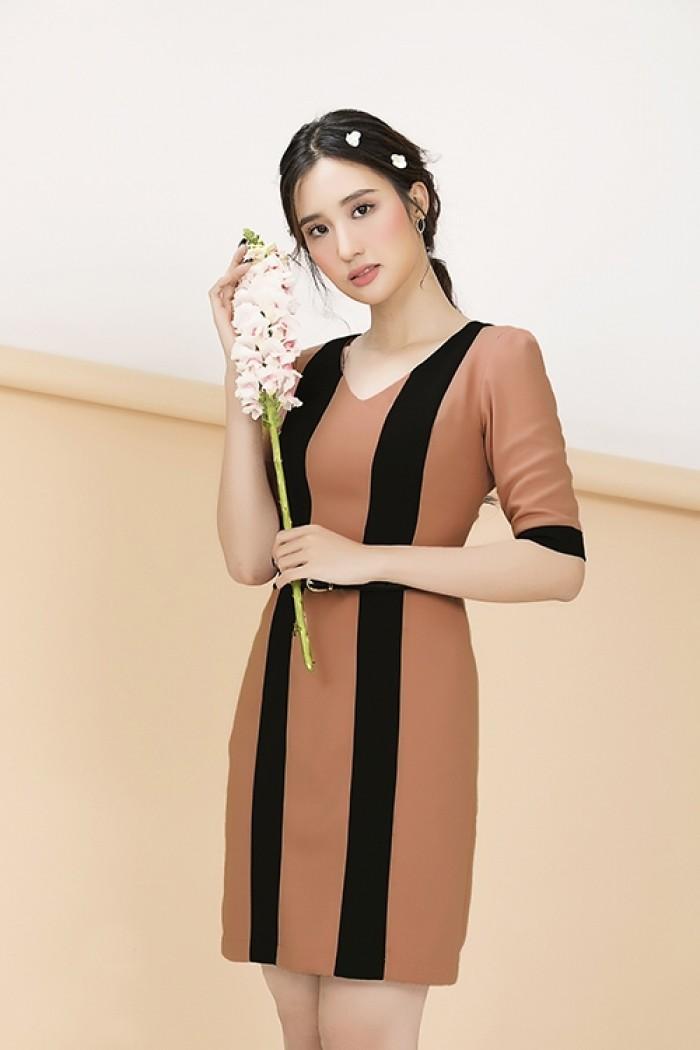 [3] Đầm công sở tay lỡ phối màu (DB2256)