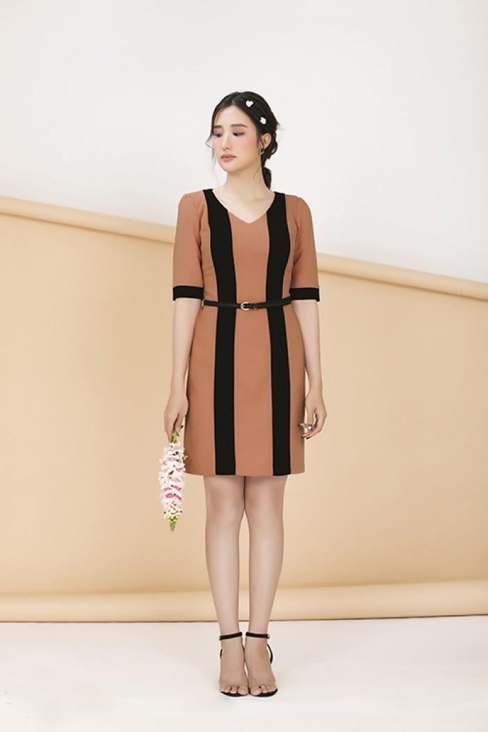 [2] Đầm công sở tay lỡ phối màu (DB2256)