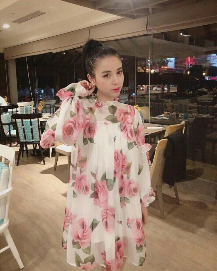 [1] Đầm suông hoa hồng nhún bèo (DB2239)