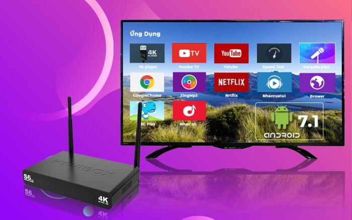 KIWIBOX S6 PRO – RAM 2GB Tính năng đặc biệt:  -Hỗ trợ remote V3 tìm kiếm bằng giọng nói. -Điều khiển bằng Điện thoại thông minh. -Chia đôi màn hình xài 2 ứng dụng khác nhau.1