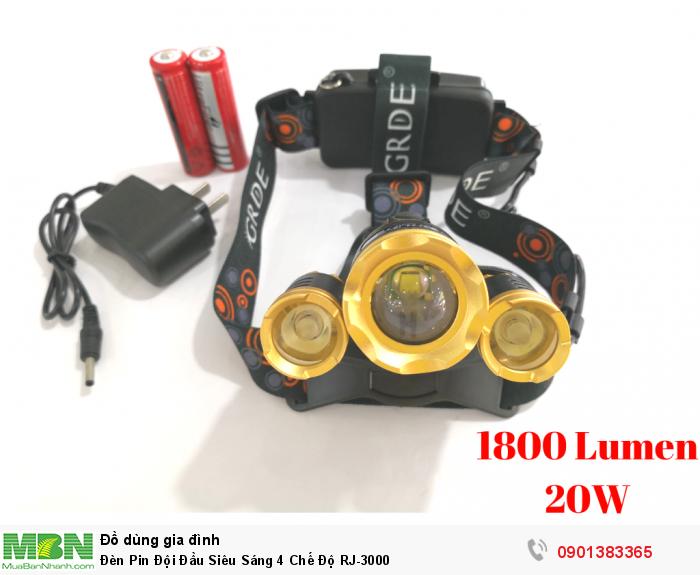 Đèn Pin Đội Đầu Siêu Sáng 4 Chế Độ RJ-3000