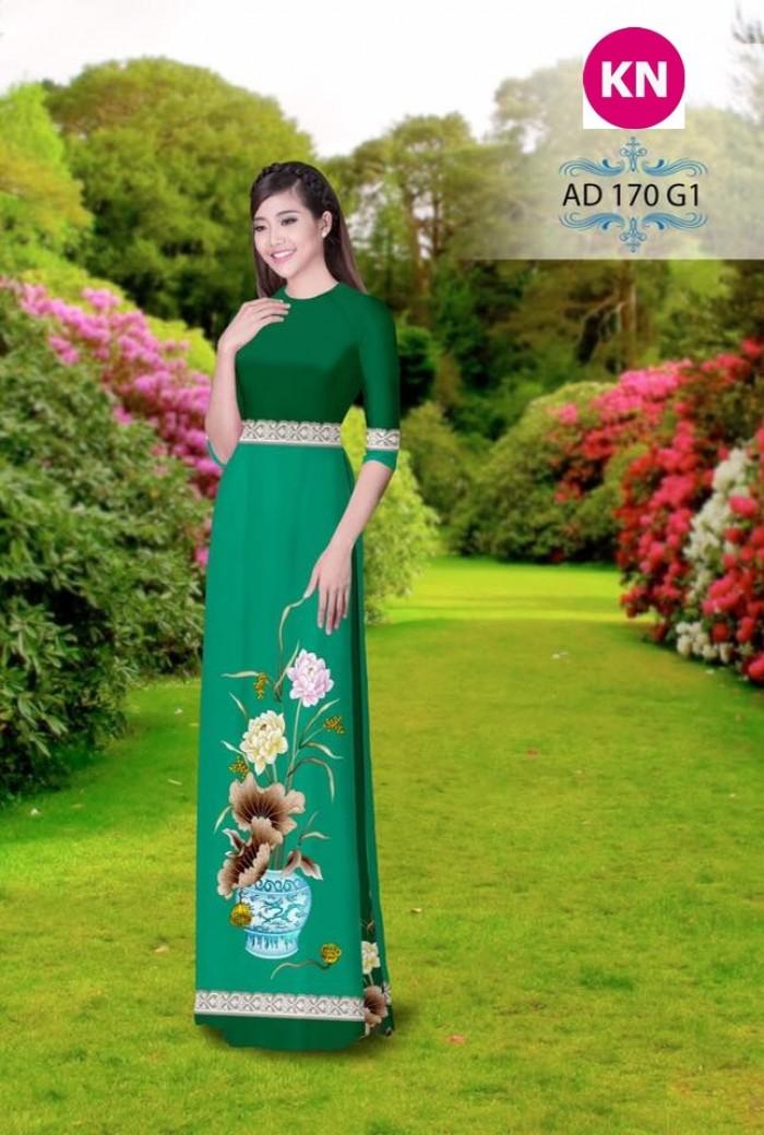 Vải áo dài đẹp in 3D 17011