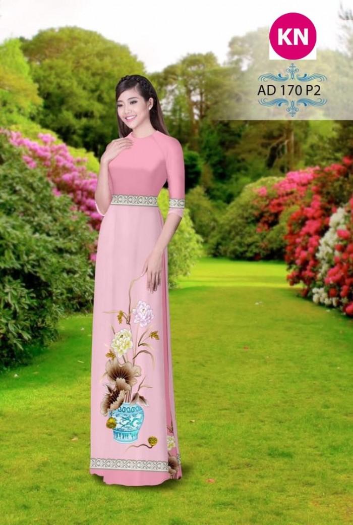 Vải áo dài đẹp in 3D 17012