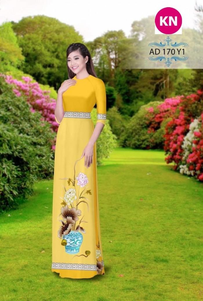 Vải áo dài đẹp in 3D 17010