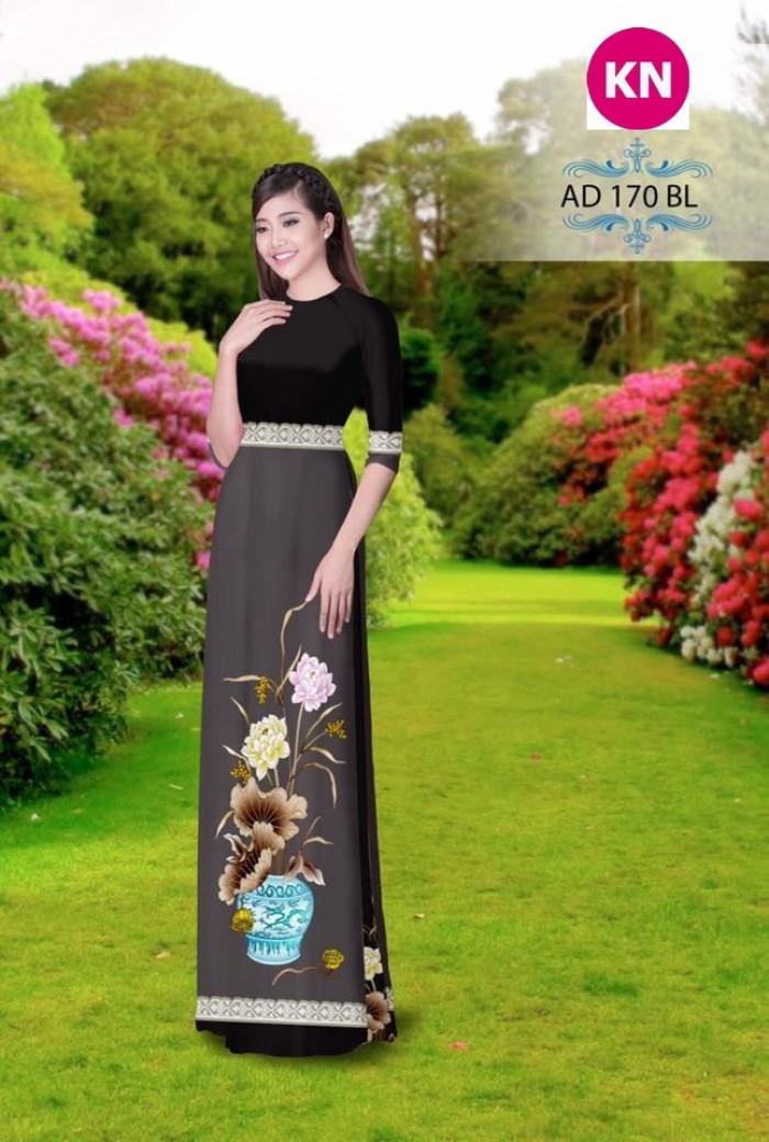Vải áo dài đẹp in 3D 1708