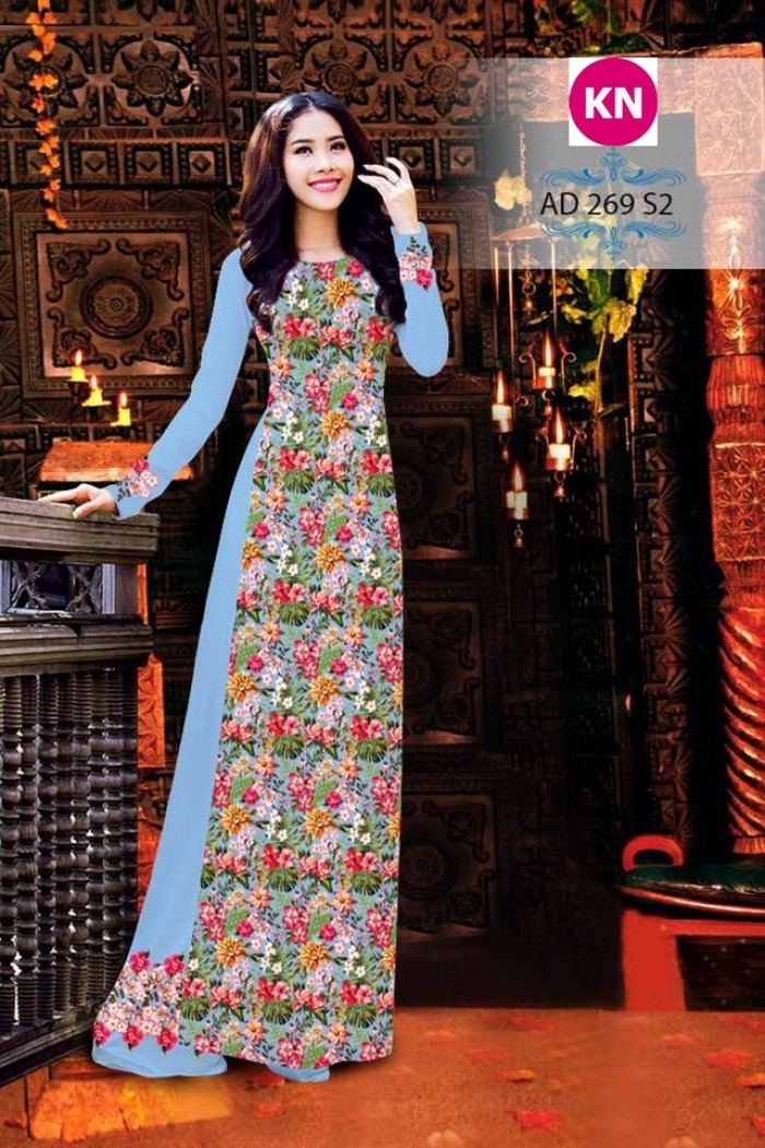 Vải áo dài đẹp in 3D 2697