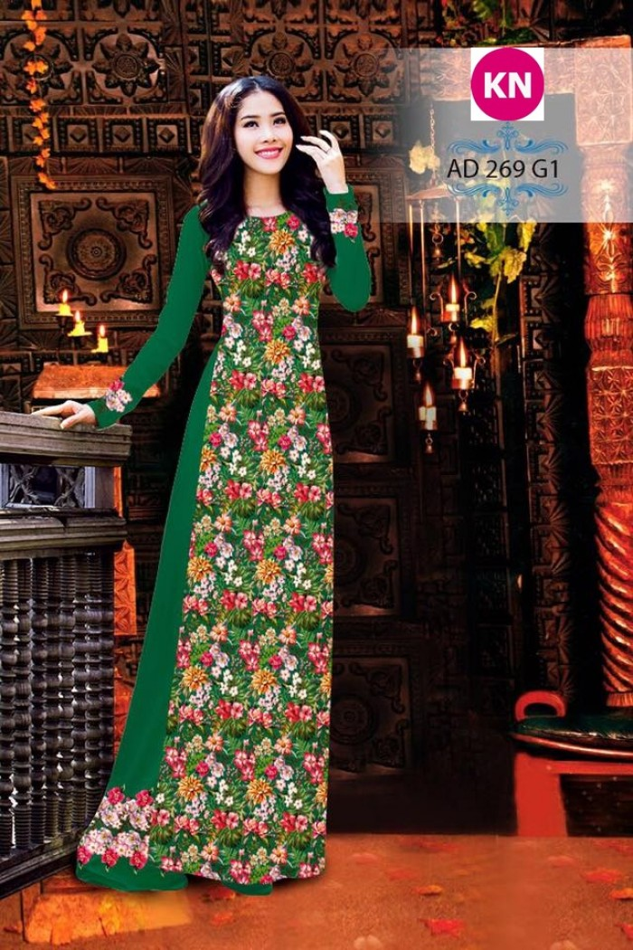 Vải áo dài đẹp in 3D 2695