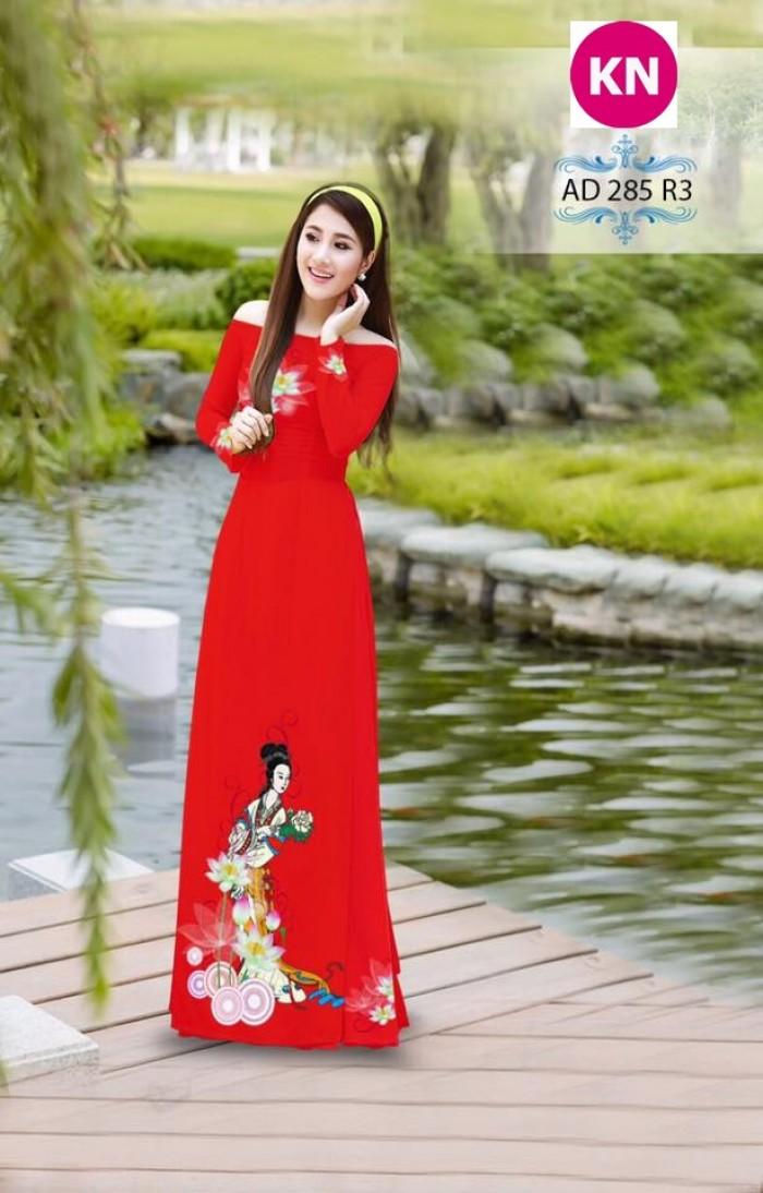 Vải áo dài đẹp in 3D 2857