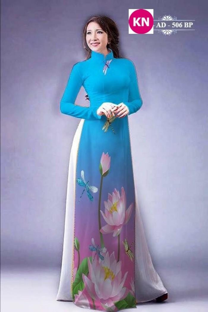 Vải áo dài đẹp in 3D hoa sen32