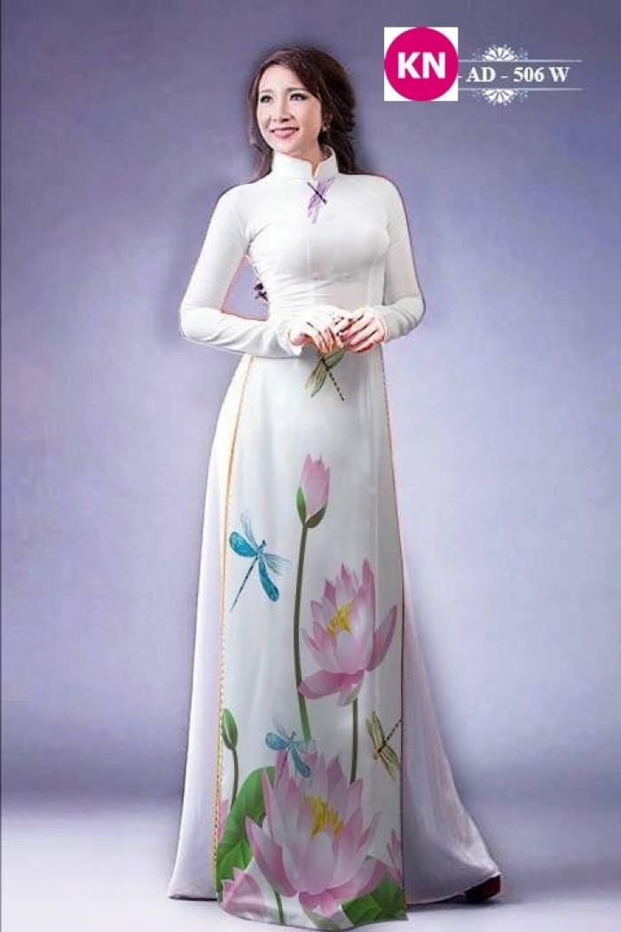 Vải áo dài đẹp in 3D hoa sen31