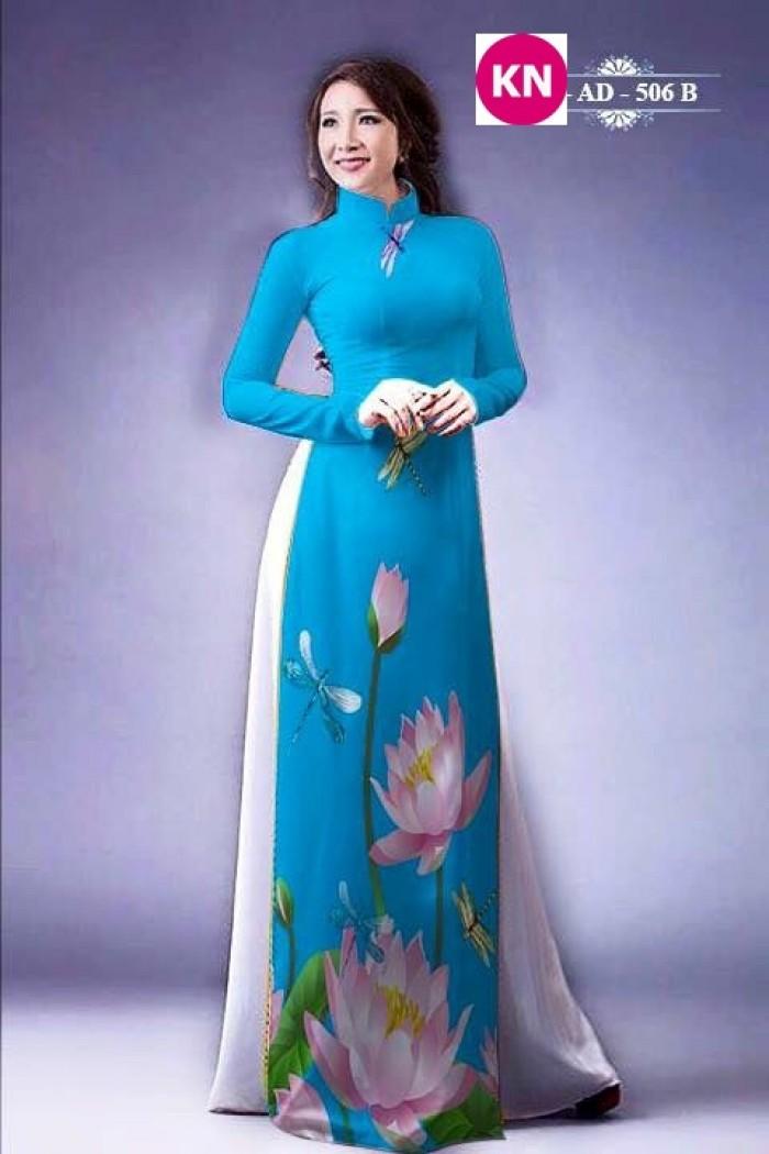 Vải áo dài đẹp in 3D hoa sen30