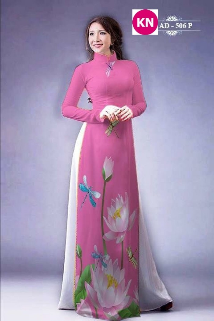 Vải áo dài đẹp in 3D hoa sen29