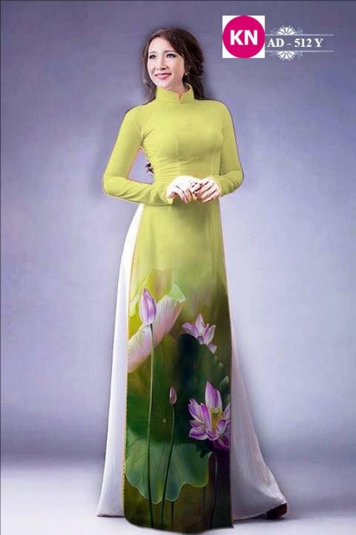 Vải áo dài đẹp in 3D hoa sen26