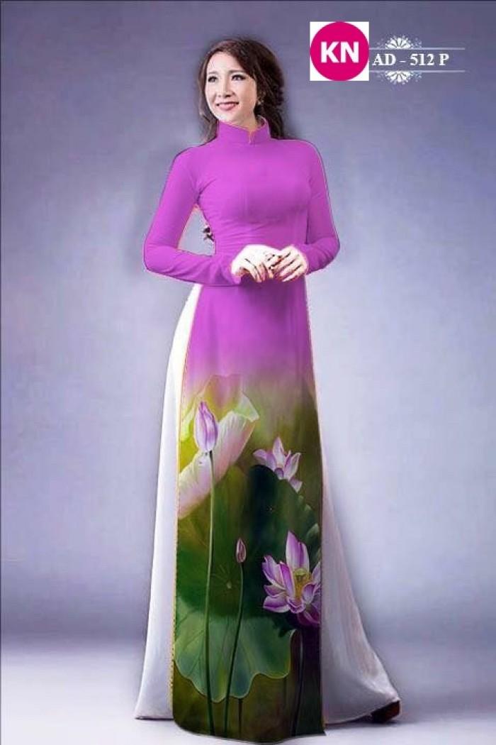 Vải áo dài đẹp in 3D hoa sen28