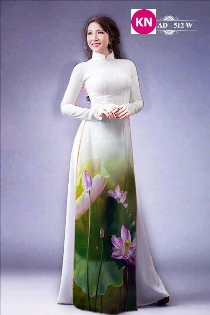 Vải áo dài đẹp in 3D hoa sen27
