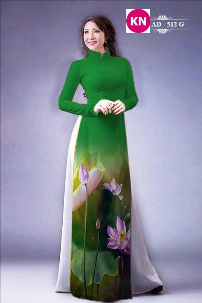 Vải áo dài đẹp in 3D hoa sen25