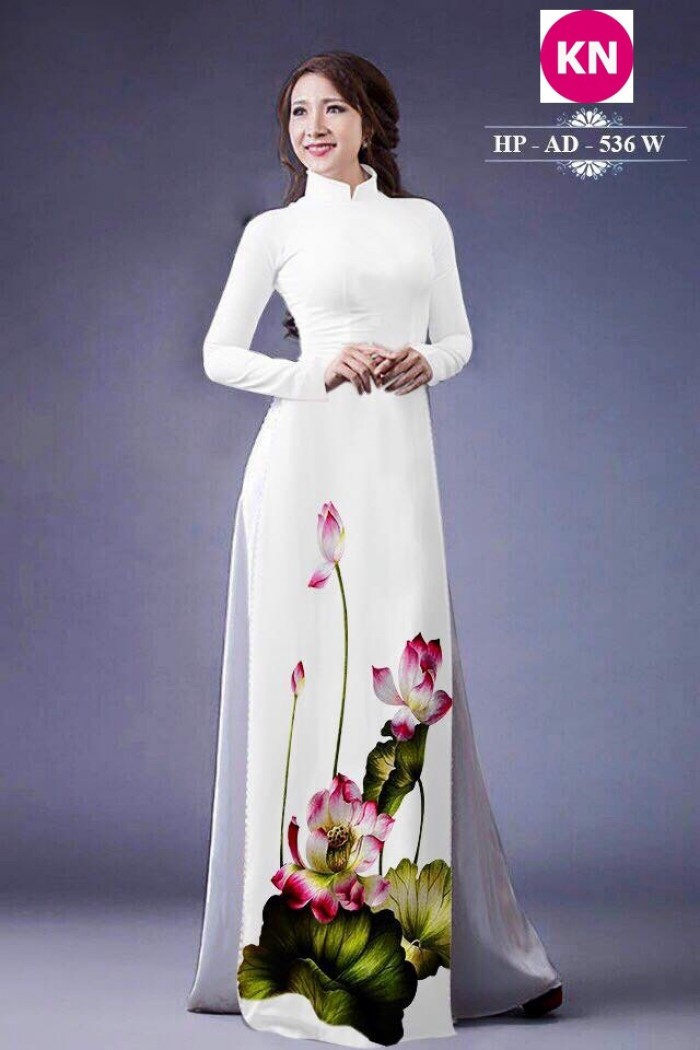 Vải áo dài đẹp in 3D hoa sen23