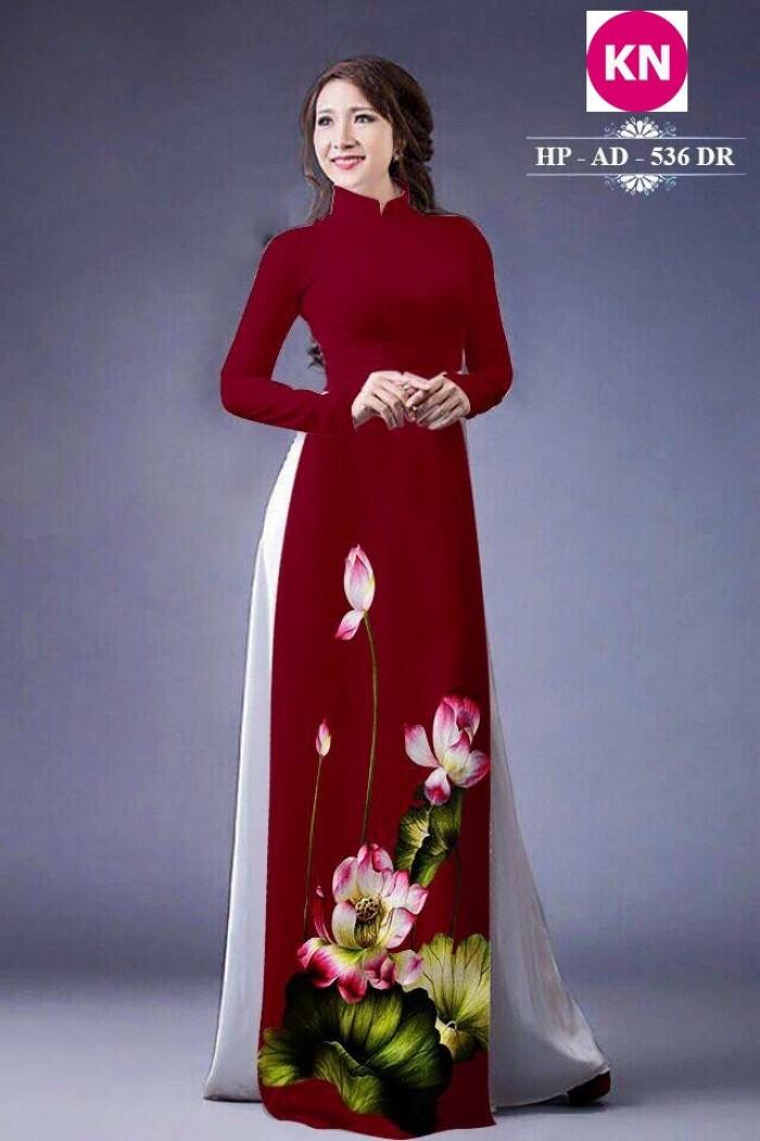 Vải áo dài đẹp in 3D hoa sen24