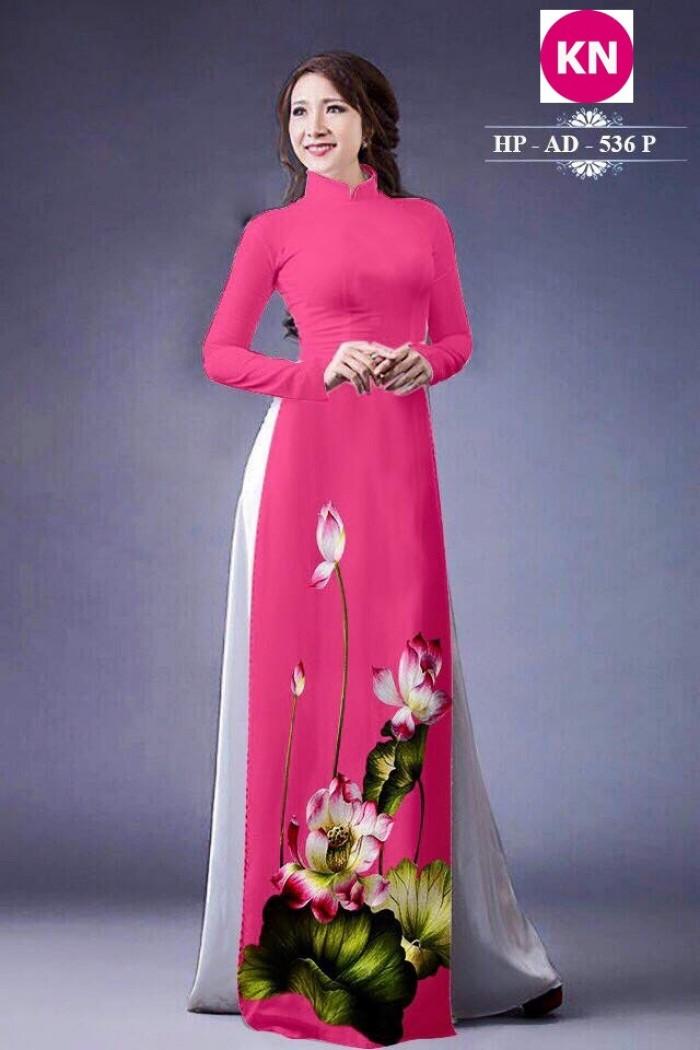 Vải áo dài đẹp in 3D hoa sen22
