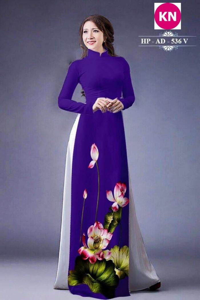 Vải áo dài đẹp in 3D hoa sen21