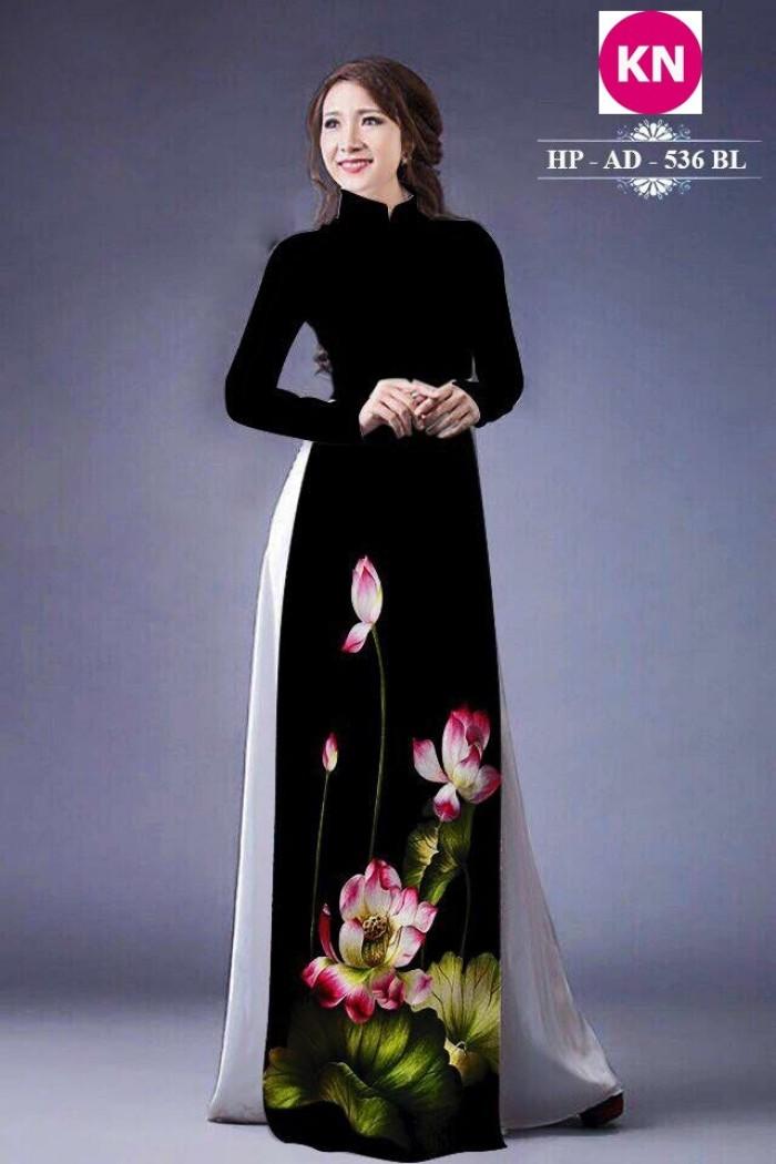 Vải áo dài đẹp in 3D hoa sen20