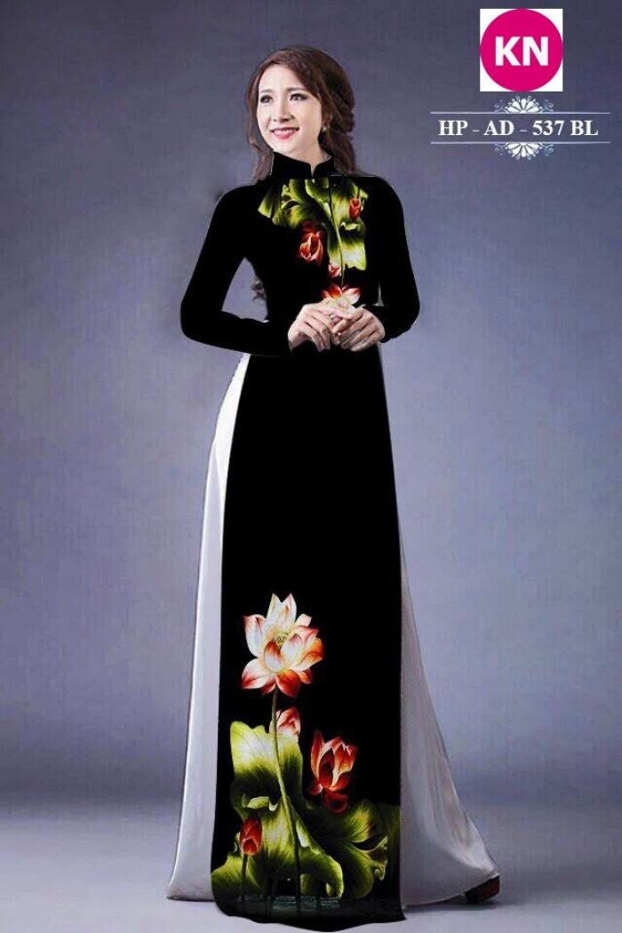 Vải áo dài đẹp in 3D hoa sen17