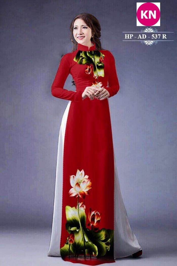 Vải áo dài đẹp in 3D hoa sen16