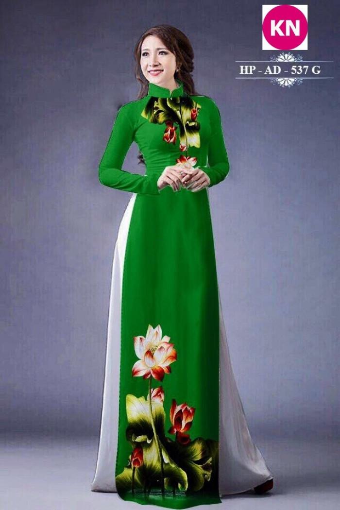 Vải áo dài đẹp in 3D hoa sen18