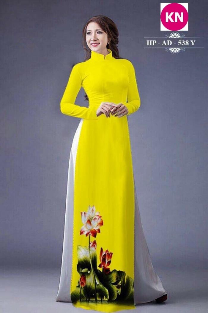 Vải áo dài đẹp in 3D hoa sen14
