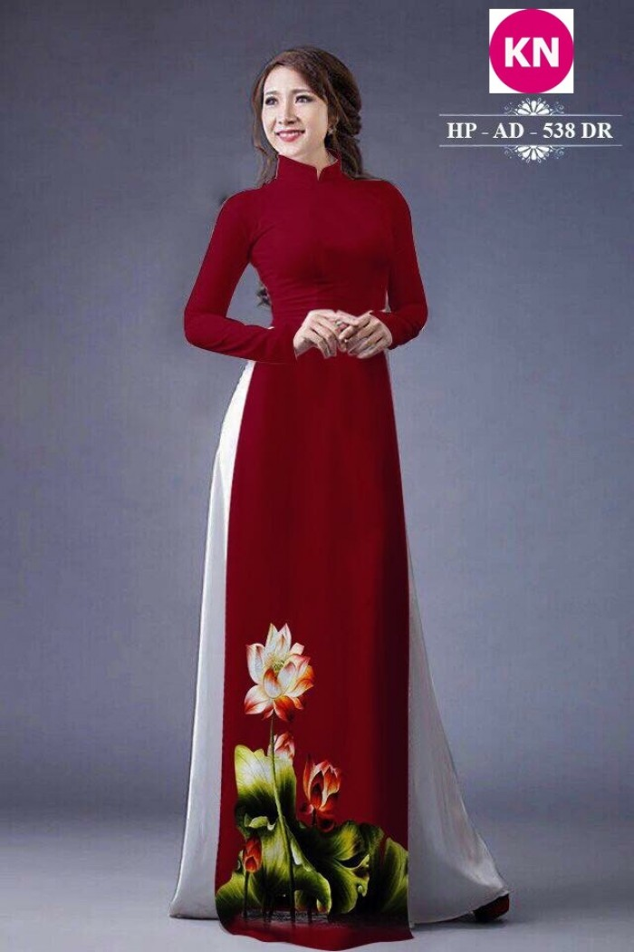 Vải áo dài đẹp in 3D hoa sen12