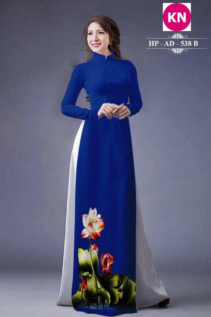 Vải áo dài đẹp in 3D hoa sen13