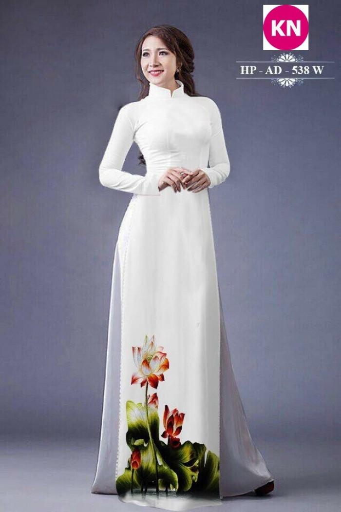 Vải áo dài đẹp in 3D hoa sen11