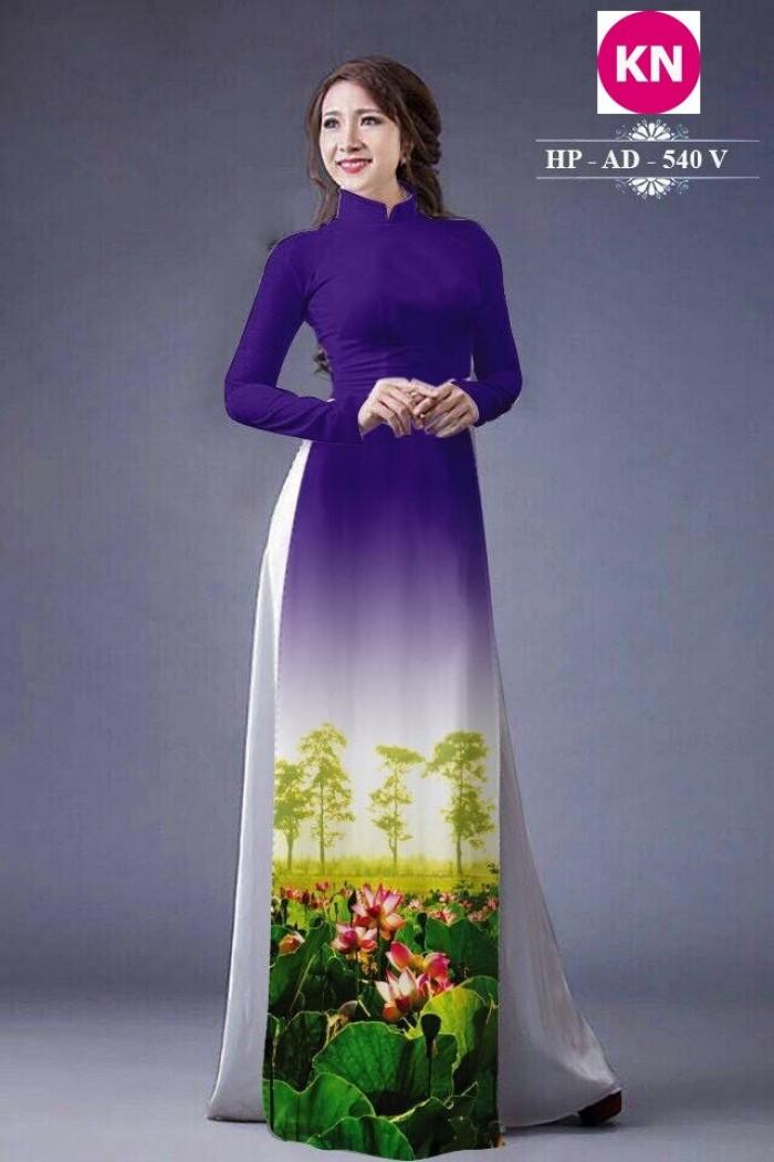 Vải áo dài đẹp in 3D hoa sen5