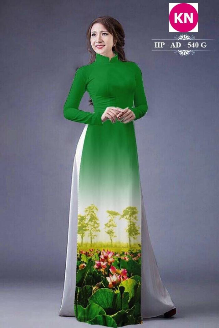 Vải áo dài đẹp in 3D hoa sen8