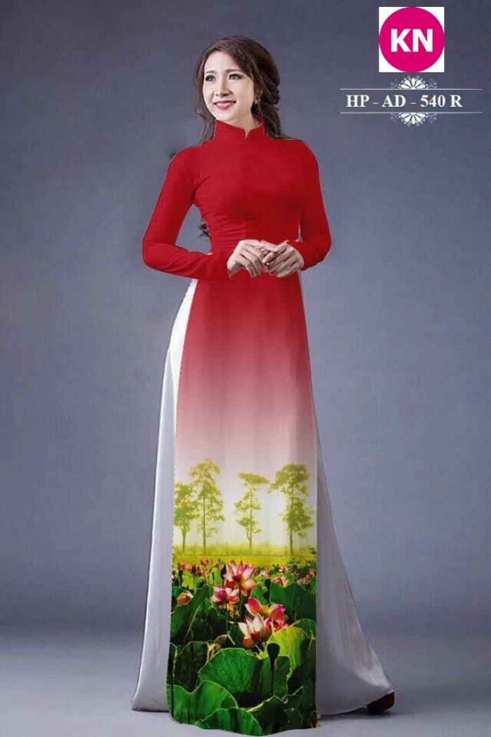 Vải áo dài đẹp in 3D hoa sen9