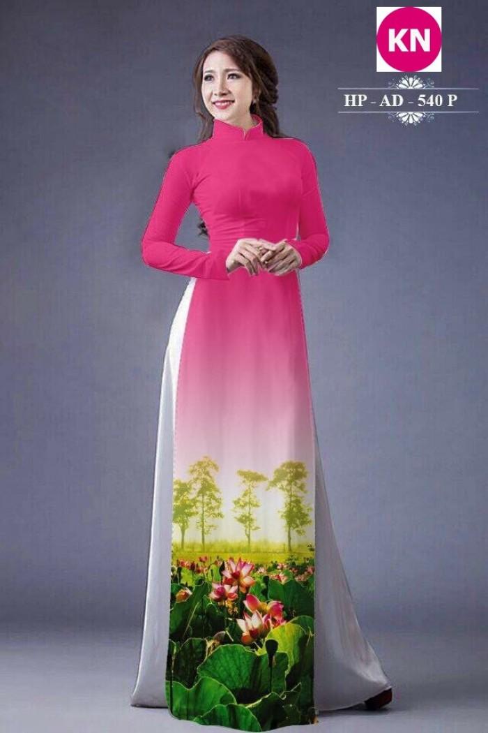 Vải áo dài đẹp in 3D hoa sen7
