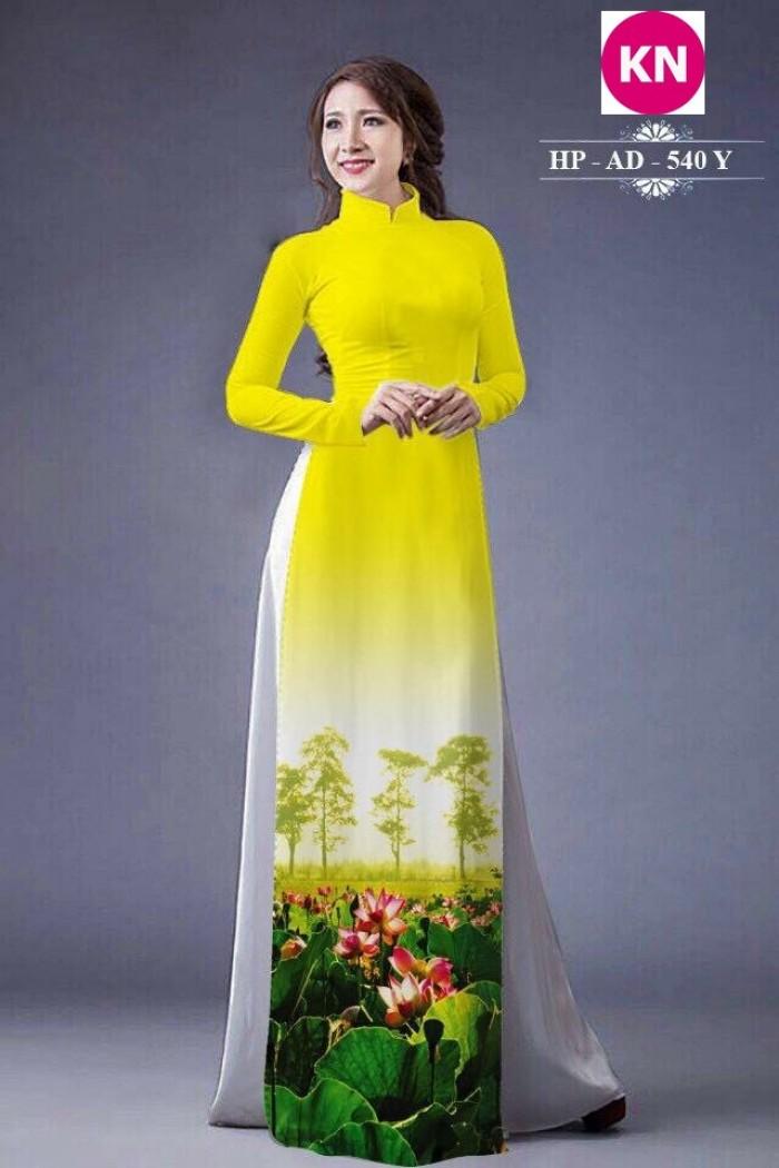 Vải áo dài đẹp in 3D hoa sen6