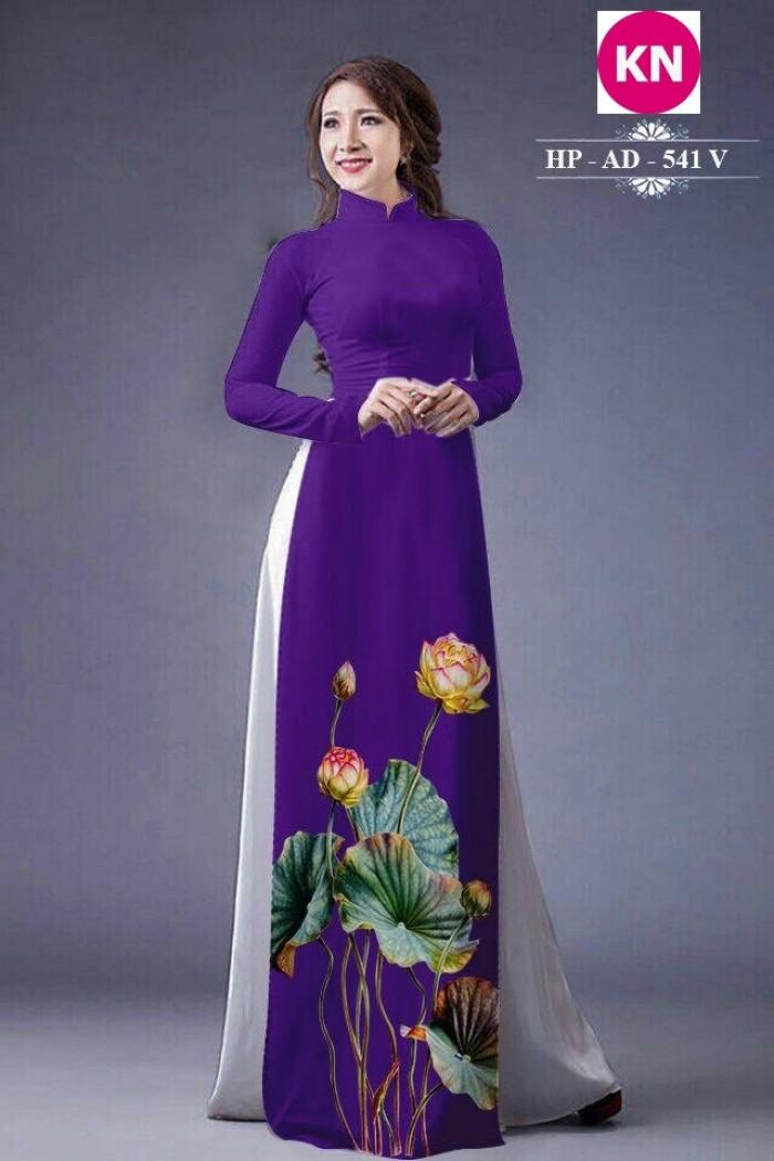 Vải áo dài đẹp in 3D hoa sen3