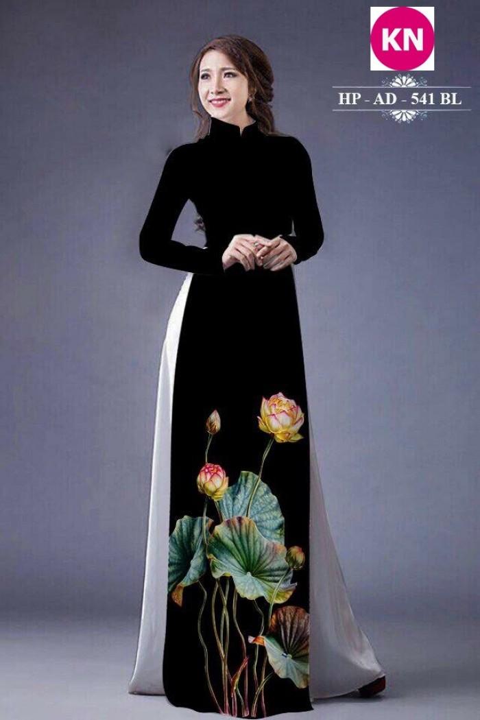 Vải áo dài đẹp in 3D hoa sen0