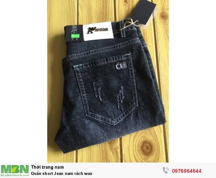 Quần short Jean nam rách wax