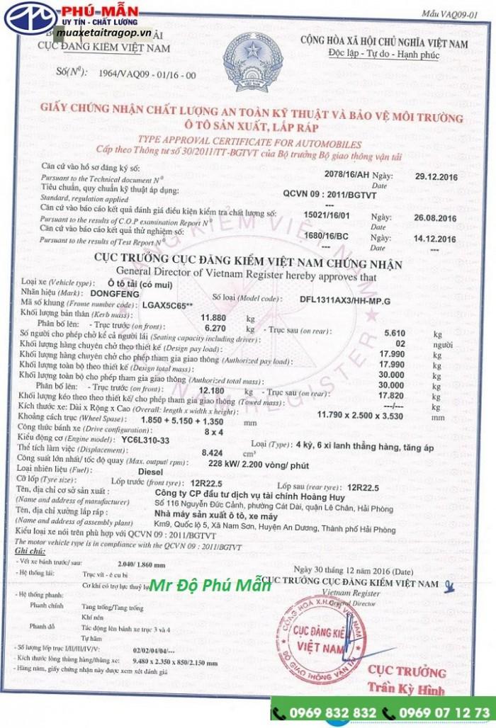 Giá xe tải dongfeng hoàng huy 4 chân 17.9 tấn Hỗ trợ vay 85%, Tặng Định vị, Phù hiệu xe tải
