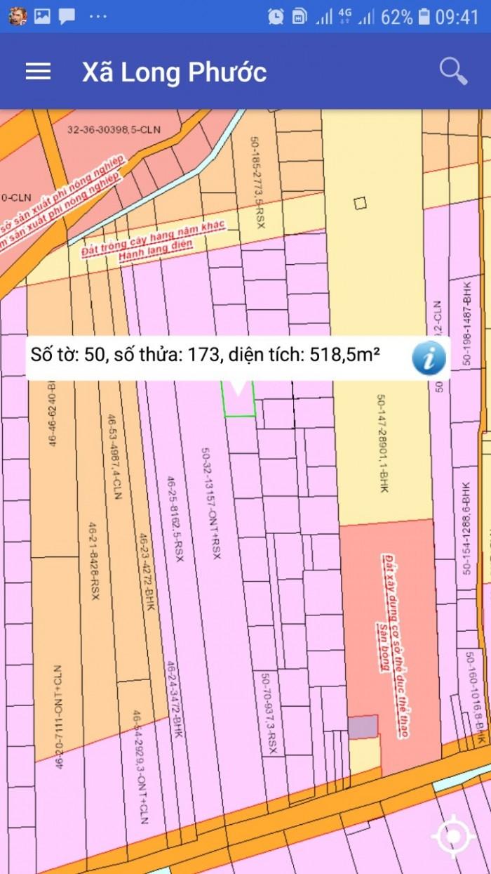 Chính chủ bán đất sổ đỏ đường Bàu Cạn Long Thành, 518m2