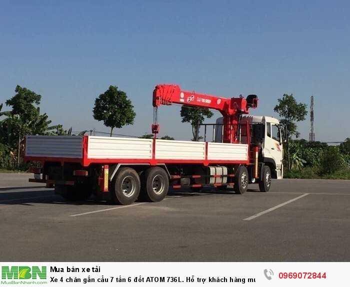 Xe 4 chân gắn cẩu 7 tấn 6 đốt ATOM 736L. Hỗ trợ khách hàng mua trả góp thời gian 60 tháng