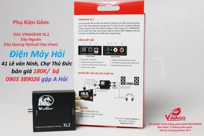 Bộ chuyển đổi âm thanh digital ra Audio Vinagear XL2 đầy đủ thông tin và hướng dẫn sử dụng trên vỏ hộp